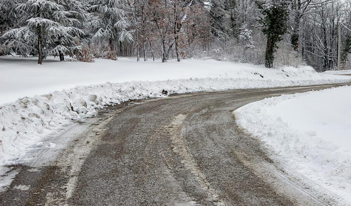 Salt and ice mixture on plowed road